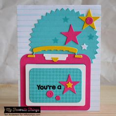 Fine Check Background, Packed with Positivity, Writing Tablet Background, Lunchbox Die-namics, Sequins Die-namics - Teri Anderson #mftstamps
