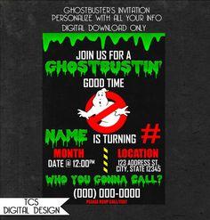 Personalized Ghostbusters Birthday Invitation Party by TCSDigitalDesign Printable, Digital, Personal, Custom Unique Birthday Theme