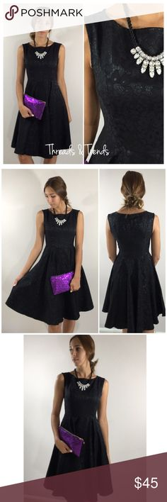 Elegant Lace Fit & Flare Dress Details  * high quality  * Non see through  * Lace material / fabric over lay  * Fit and flare style  * Spandex & poly fabric   Small Bust 34 Waist 28 Length 38  Medium Bust 38 Waist 30 Length 40   Large  Bust 40 Waist 32 Length 40 Dresses
