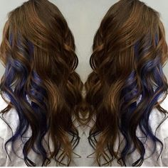 Copper brown hair with dark blue peek-a-boos