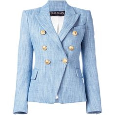 Balmain denim woven blazer (€1.740) ❤ liked on Polyvore featuring outerwear, jackets, blazers, blue, balmain blazer, lapel jacket, denim blazer, denim blazer jacket and blue blazer