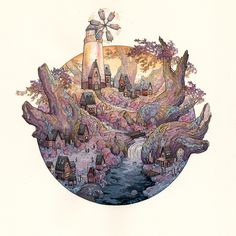 """""""Windmill Root Village"""" by Nicole Gustafsson"""