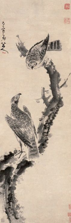Eagles in Withered Tree, Ink on paper