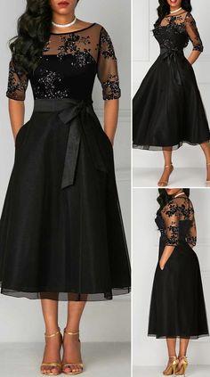 High Waist Lace Panel Three Quarter Sleeve Dress - New Site Simple Dresses, Elegant Dresses, Pretty Dresses, Beautiful Dresses, Casual Dresses, Dresses With Sleeves, Sexy Dresses, Sparkly Dresses, Wedding Dresses