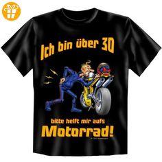 Spaßiges fideles Geburtstag T-Shirt: Ich bin über 30! Bitte helft mir aufs Motorrad! Purzeltag schwarz - Shirts zum 18 geburtstag (*Partner-Link)