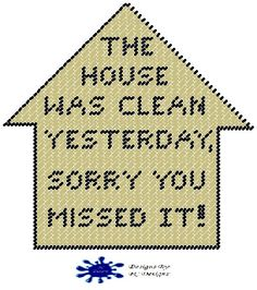 Clean House Plastic Canvas Pattern Sign by PCDesignz on Etsy, $2.00