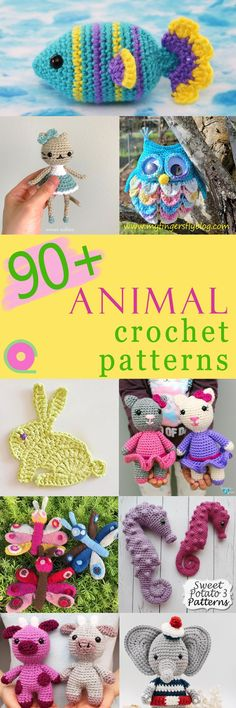 Over 90 animal crochet patterns, mostly free. Amigurumi, plushies and other items like decorations or potholders. Blog hop by 16 crochet bloggers. See links to all these patterns and make your favourite ones! Crochet Animal Amigurumi, Crochet Animal Patterns, Stuffed Animal Patterns, Crochet Animals, Amigurumi Patterns, Crochet Toys, Knitting Patterns, Crochet Things, Crochet Videos