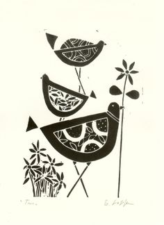 Black Birds Linocut- Original Lino Print, Black & White Scandinavian Style Lino Block Signed on Etsy, $31.47 AUD