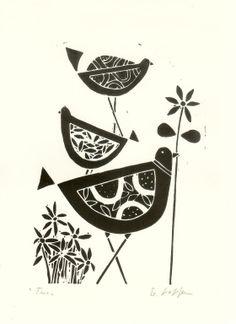 Black Birds Linocut- Original Lino Print, Black & White Scandinavian Style Lino Block Signed on Etsy, $31.47 AUD