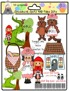 Little Red Riding Hood from Speckles Spots Polka Dots on TeachersNotebook.com (53 pages)  - Little Red Riding Hood , Grandma, and the Big Bad Wolf  53 sweet graphics with lots of cute scenes!  FOR PERSONAL AND COMMERCIAL USE!