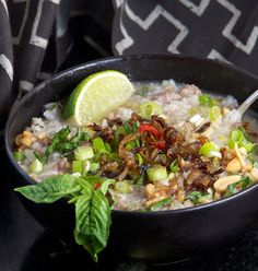 Cambodian Pork Rice Soup |  You will need gr. pork, peanuts, shallots