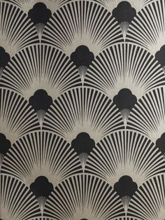 Art Deco Metallic Wallpaper Pattern | WS128 Wallpaper - Art Deco - Geometric Fan Motif - Surrey
