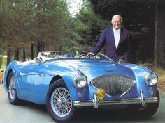 Donald Healey with an incredibly beautiful 1956 Austin Healey 100.