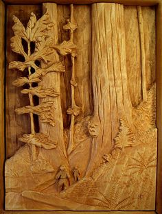 Redwood Scene - relief carving in basswood