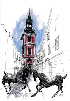 Ulica Klasztorna, Poznań, Poland #sketch #sketching #urbansketchers #theheadlessketcher #drawing #sketchbook #architecture #Poznan #polska #uskp #pendrawing #watercolor