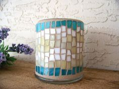 Stained Glass Mosaic Candle Holder #vintagemaya #mosaic #handcraft #cottage home decor #candle holder