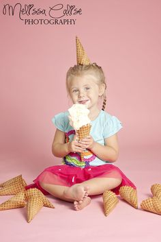 Melissa Calise Photography (3rd Birthday Third Girl Pink Ice Cream Photoshoot Ideas)