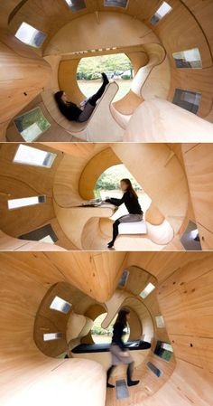 German designed cylindrical modular house complete with bed, desk and fully functional kitchen