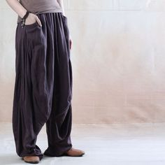 42c5aa32d5c women casual loose fitting pants harem pants cotton linen pants-buykud Plus  Size Pants