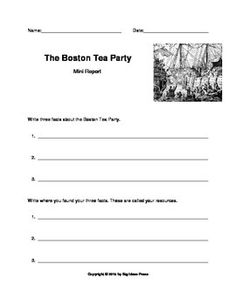 The Boston Tea Party Little Book (Colonial Times Printable, Grades ...