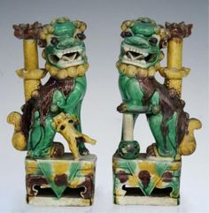 Pair Chinese Porcelain Foo Dogs Possibly 18th C.️More Pins Like This At FOSTERGINGER @ Pinterest♓️