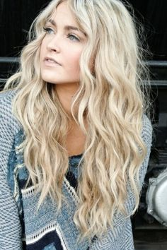Long light blonde wavy