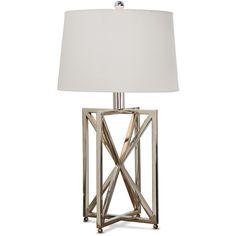 Leonardo Modern Silver Metal Geometric Table Lamp ($448) ❤ liked on Polyvore featuring home, lighting, table lamps, modern light, modern lamps, geometric table lamp, modern shade and rectangular table lamp