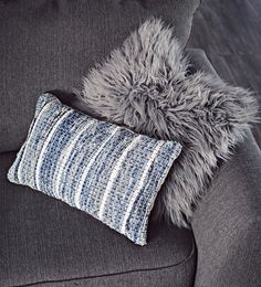 fluffy gray & blue denim decorative pillows from @athomestores
