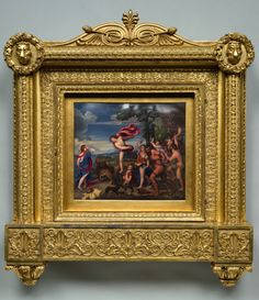 Henry Bone (1755-1834), Bacchus & Ariadne after Titian, 1808-11, enamel on copper original gilt-wood and gesso carved frame; 16 x 18 ins   Henry Bone was a prolific painter of enamel panels in the late 18th & early 19th c, creating exceptionally large & elaborate examples of what was considered a miniature genre, becoming the official enamel-painter to three monarchs, generating public interest (in the work above) on a scale only equalled by Holman Hunt half a century later
