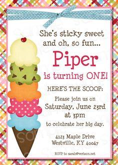 Ice Cream Themed Birthday Party Invitation