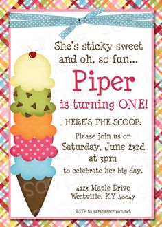 Ice Cream Themed Birthday Party Invitation by ThePaperPleaser, $6.00