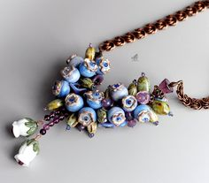 Jewelry Glass Lampwork Bead Necklace Handmade Blueberry Hickleberry Blue Purple Gift Lampwork Artists Made in the USA