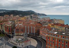Old town of Nice, taken from the top of a ferris wheel on Christmas Day.