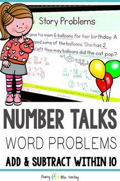 These first-grade word problem number talks are focused on using addition and subtraction to solve word problems within 10 for all 4 problem types (joining, separating, part-part-whole, and comparing). They are aligned with Common Core Standard First Grade Words, First Grade Lessons, Teaching First Grade, First Grade Teachers, First Grade Math, Math Lessons, First Grade Addition, Math Fact Practice, Math Fact Fluency