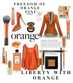 """""""Liberty with Orange"""" by fini-i ❤ liked on Polyvore featuring Jens Pirate Booty, Versace, Bobbi Brown Cosmetics, Iman, Estée Lauder, Serge Lutens, Clarins, Yves Saint Laurent, NYX and LASplash"""