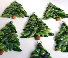 Fused Glass Christmas Ornament (Christmas Tree). $10.00, via Etsy.