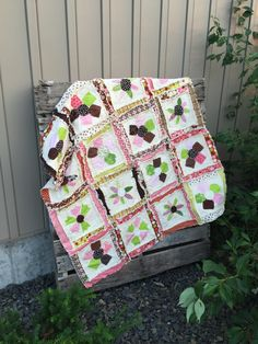 Girl Baby Quilt with Flower Appliqued Blanket in Cream, Pink and Green, Ready to Ship