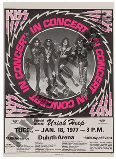 Old Rock Band Posters Rock Roll, Rock And Roll Bands, Rock Posters, Band Posters, Music Posters, Vintage Concert Posters, Vintage Posters, Retro Posters, Kiss Concert