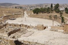 """Jerash: """"For centuries this ancient city lay buried in the sand, but extensive excavations have revealed the remains of homes, arches, a hippodrome and even a cathedral."""" Jordan: the Bradt Guide www.bradtguides.com"""