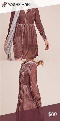 Anthropologie Velvet Dress Beautiful velvet Anthropologie dress in Mauve. Never worn with tags size medium. Anthropologie Dresses Midi