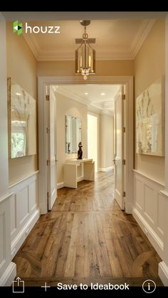 The design in the floor and colors on walls/molding