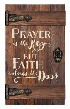 Prayer Is the Key But Faith Unlocks the Door Door Art DIY Wood Signs Art Door Faith key Prayer Unlocks Woodworking Furniture, Woodworking Plans, Woodworking Projects, Woodworking Classes, Popular Woodworking, Woodworking Techniques, Woodworking Videos, Woodworking Beginner, Youtube Woodworking