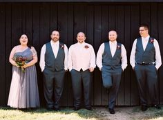 Groomsmen and a grooms-woman in shades of grey - a classic look we love! #Cedarwoodweddings A Celebration to Remember :: Marissa+Mark, Part 2 | Cedarwood Weddings