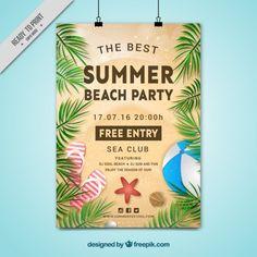 poster do partido da praia do verão com folhas de palmeira Vetor grátis