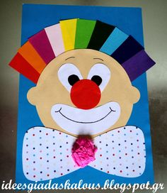 Ideas for Teachers: Multicolour Clown with Pattern Easy Crafts, Diy And Crafts, Crafts For Kids, Arts And Crafts, Painting Activities, Color Activities, Circus Theme, Classroom Themes, Kids And Parenting