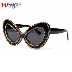 #FASHION #NEW 2018 sunglasses women brand designer Butterfly Big Frame Rhinestone sunglasses Oversized glasses Fashion Shades oculos