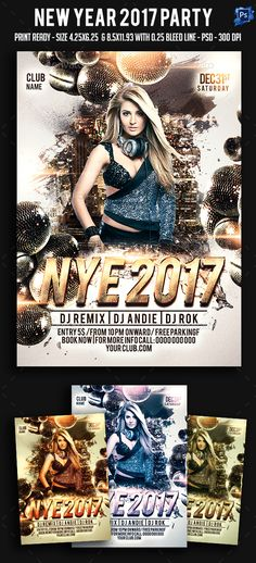 #New #Year 2017 #Party #Flyer - Clubs & Parties #Events Download here:  https://graphicriver.net/item/new-year-2017-party-flyer/18143517?ref=alena994