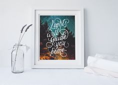 Starry Night, Inspirational Quote, Night Prints, Typography Art, Prints, Vintage, Stars, Lights, Instant Download, Forest, Woods, Modern