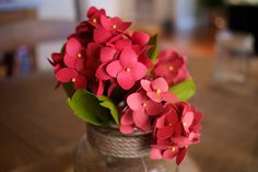 Paper Hydrangeas – Handmade Paper Flowers – 3 Stems – available in any color – Wedding Bouquet, Office Decor, Home Decor, Gift Coral Pictures, White Vases, Table Arrangements, Hydrangeas, Coral Color, Stems, Office Decor, Paper Flowers, Wedding Bouquets