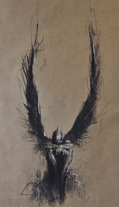 """Jophiel waits 8"", conte and chalk on paper, 30 x 50 cm"